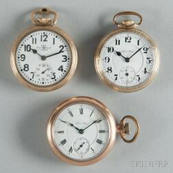 Ball RR Standard and Two Hamilton Open-face Watches
