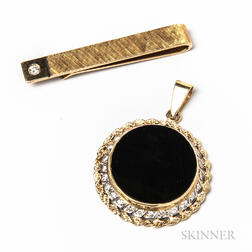 14kt Gold and Diamond Tie Bar and a 14kt Gold, Diamond, and Onyx Pendant