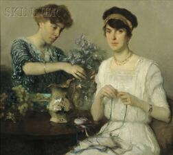 Francis Luis Mora (American, 1874-1940)      The Artist's Wife and Her Sister Arranging Flowers and Ribbons