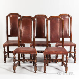 Five Maple Crook-back Leather Chairs