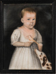 American School, Late 18th Century      Portrait of Mary Louise Burrows, of Stonington/Mystic, Connecticut, area, Age 11 Months