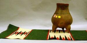 Small Indian Weaving and a Polychrome Pottery Jar.