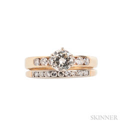 14kt Gold Diamond Ring and Band