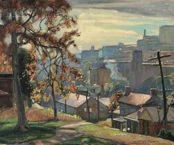William Lester Stevens (American, 1888-1969)      View of a City in Autumn, Probably Waterbury, Connecticut