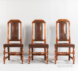 Three Maple Crook-back Leather Chairs
