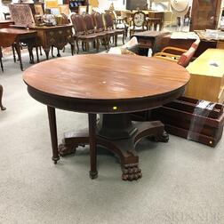 Classical-style Mahogany Veneer Extension Dining Table