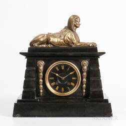 Brass-mounted Egyptian Deity-form Mantel Clock