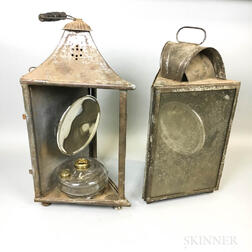 Two Tin and Glass Triangular Hanging Lanterns