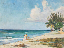 Leopoldo Romañach (Cuban, 1862-1951)      Atardecer   (Late Afternoon at a Beach)