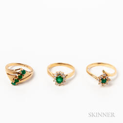 Three 14kt Gold, Emerald, and Diamond Rings