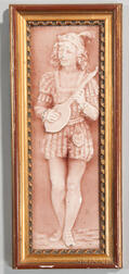 Framed Trent Tile Co. Art Pottery Panel of a Boy Playing a Mandolin