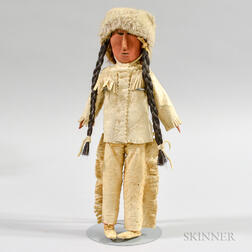Cree Wood and Hide Doll