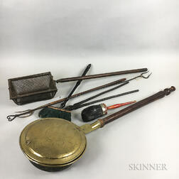 Seven Wrought Iron, Brass, and Wood Hearth Items