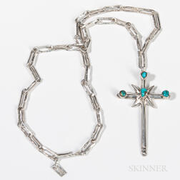 Navajo Silver Cross with Chain