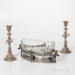 Three-piece German Silver Table Garniture