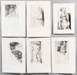 Leonard Baskin (1922-2000)      Six Unframed Etchings from the Titus Andronicus