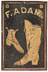 "Two-sided ""F. Adam"" Boot and Shoemaker Trade Sign"
