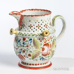 Staffordshire Floral-decorated Ceramic Puzzle Jug