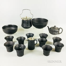 Fifteen Wedgwood Black Basalt Items