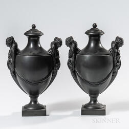 Pair of Wedgwood & Bentley Black Basalt Vases and Covers