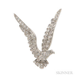 Platinum and Diamond American Eagle Brooch, Tiffany & Co.