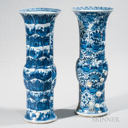 Near Pair of Blue and White Gu  -shape Vases