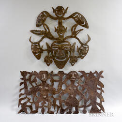 Two Mexican Sheet Iron Wall Sculptures
