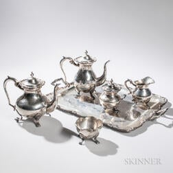 Six-piece Peruvian Sterling Silver Tea and Coffee Service