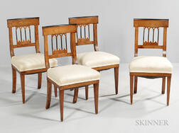 Four Biedermeier Walnut Side Chairs