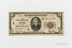 1929 Federal Reserve Bank of New York $20 Note.     Estimate $30-50