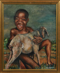 20th Century South African School Oil on Canvas   The Happy Shepherd