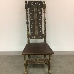 Baroque-style Carved, Turned, and Painted Side Chair