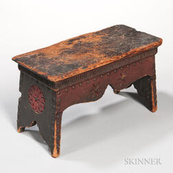 Carved and Painted Footstool
