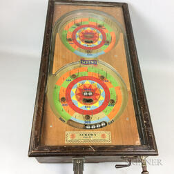 "Cased Oak and Glass Table-top ""Screwy"" Coin-op Pinball Game"