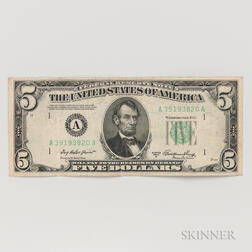 1950A $5 Federal Reserve Note First Print Misalignment Error.