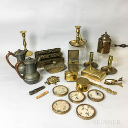 Group of Brass and Pewter Desk Accessories and Teaware.     Estimate $200-300