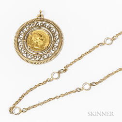 14kt Gold-mounted Austro-Hungarian Coin Pendant