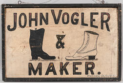 "Two-sided ""John Volger Boot and Shoe Maker"" Trade Sign"