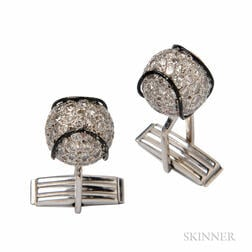 14kt White Gold, Diamond, and Enamel Baseball Cuff Links