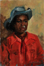 Eleanor Harrington (American, 1904-1992)   Oil on Canvas Depicting an African American Cowboy with Red Shirt