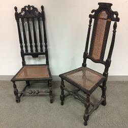 Turned and Carved Bannister-back Side Chair and a Baroque Side Chair.     Estimate $20-200