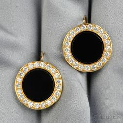 18kt Gold, Onyx, and Diamond Earpendants