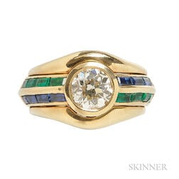 18kt Gold, Diamond, and Gem-set Ring