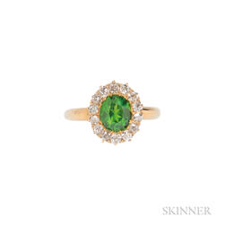 Antique Gold, Demantoid Garnet, and Diamond Ring