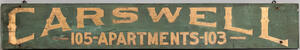 """""""Carswell Apartments"""" Trade Sign"""