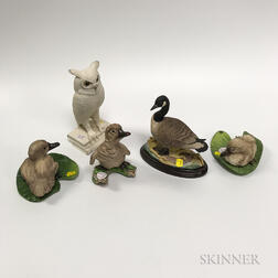 Three Boehm Porcelain Ducks, a Goose, and an Owl