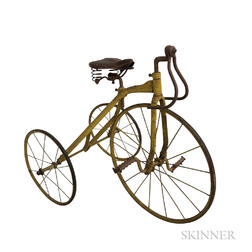 Yellow-painted Wrought Iron Tricycle
