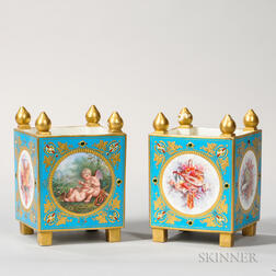 Pair of Sevres-type Porcelain Cachepots