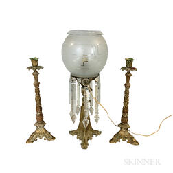Brass and Etched Glass Astral Lamp and a Pair of Bronze Candlesticks