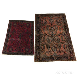 Two Sarouk Scatter Rugs
